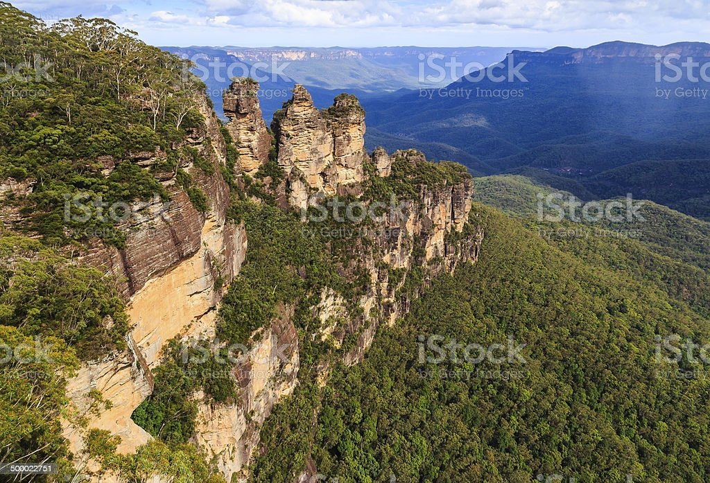 Three Sisters in the Blue Mountains Australia stock photo