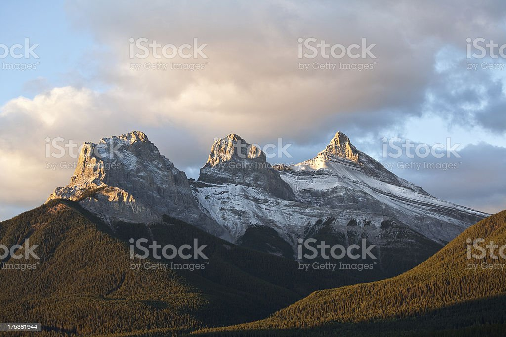 Three Sisters Mountains in Canmore stock photo