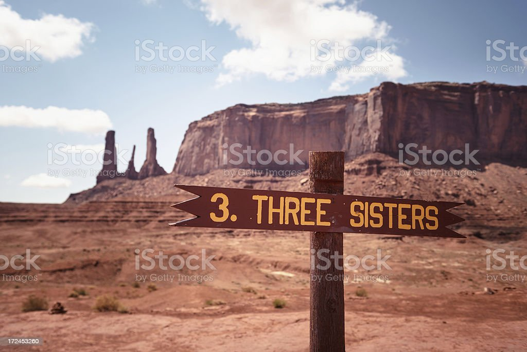 Three sisters on Monument valley National park desert royalty-free stock photo