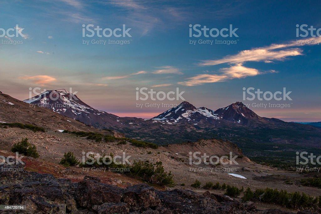 Three Sisters, Oregon, at Sunrise stock photo