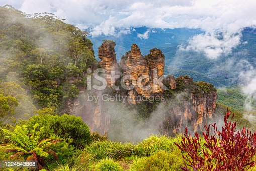The Three Sisters are an unusual rock formation in the Blue Mountains of New South Wales, Australia, on the north escarpment of the Jamison Valley. They are located close to the town of Katoomba and are one of the Blue Mountains' best known sites, towering above the Jamison Valley.