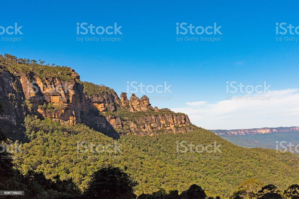 Three Sisters rock formation in the Blue Mountains, Australia stock photo