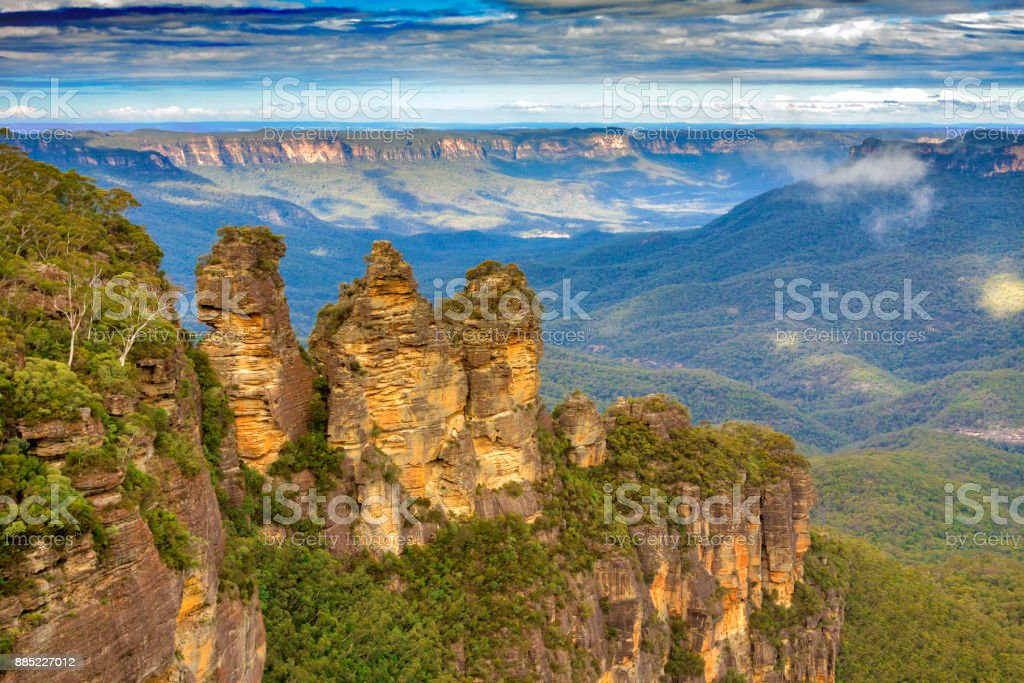 Three Sisters rock in Blue mountains stock photo
