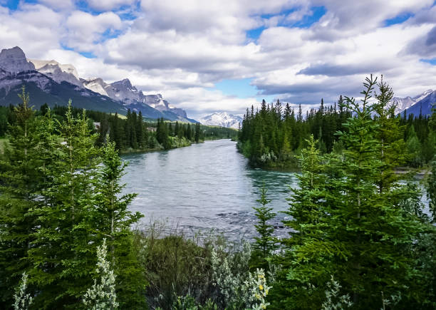 Three Sisters Trailway in Canmore, Alberta Canada stock photo