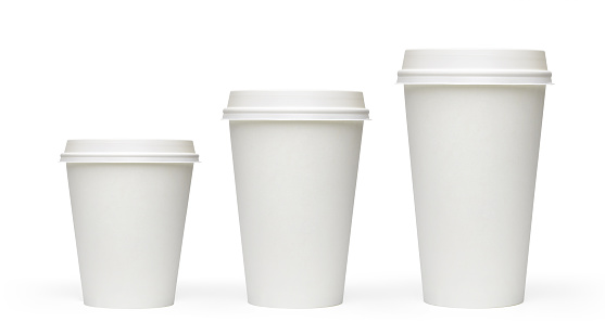Three sizes blank take away coffee cups
