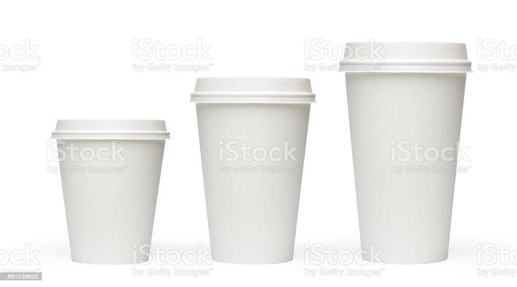 Three sizes blank take away coffee cups stock photo