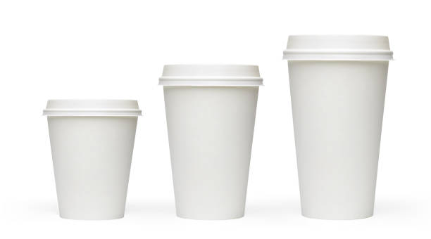 Three sizes blank take away coffee cups Three sizes blank take away coffee cups isolated on white background including clipping path disposable cup stock pictures, royalty-free photos & images