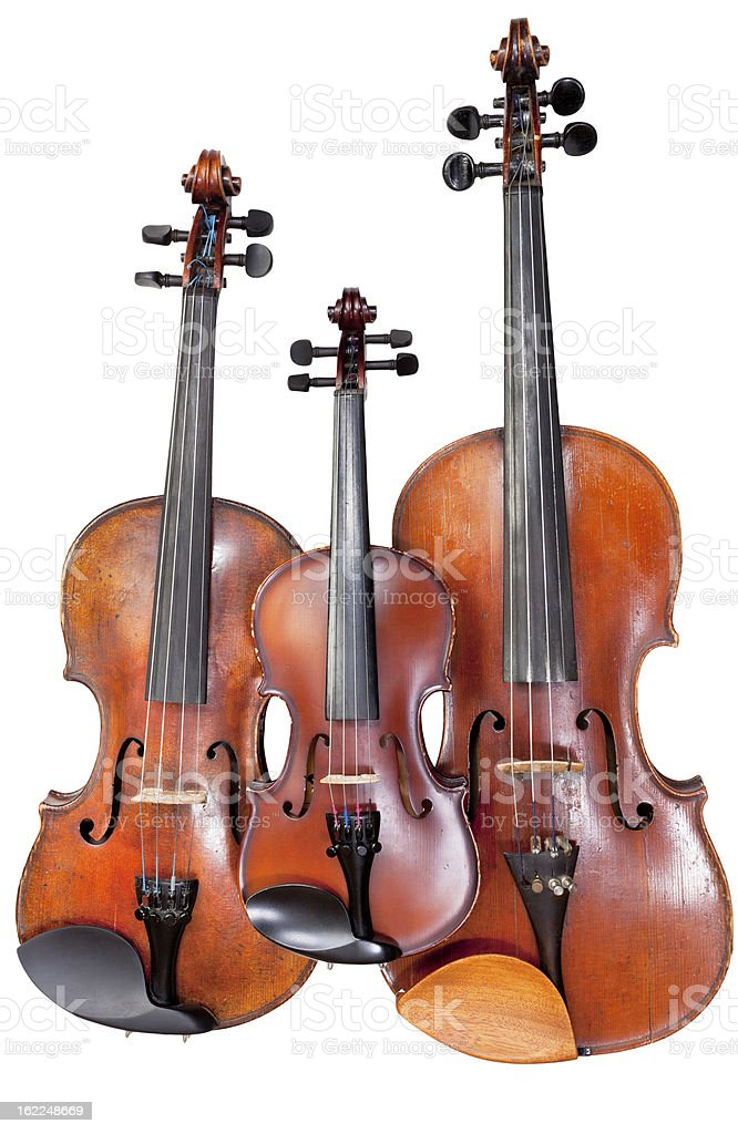 three sizes of fiddles royalty-free stock photo