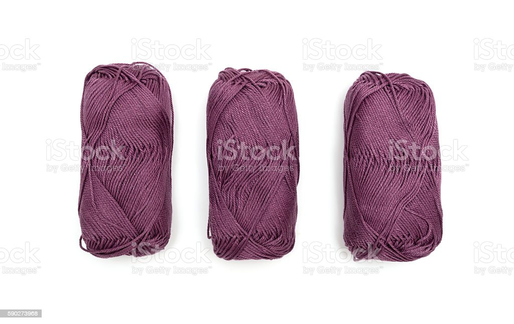 Three skeins of yarn isolated on white background stock photo