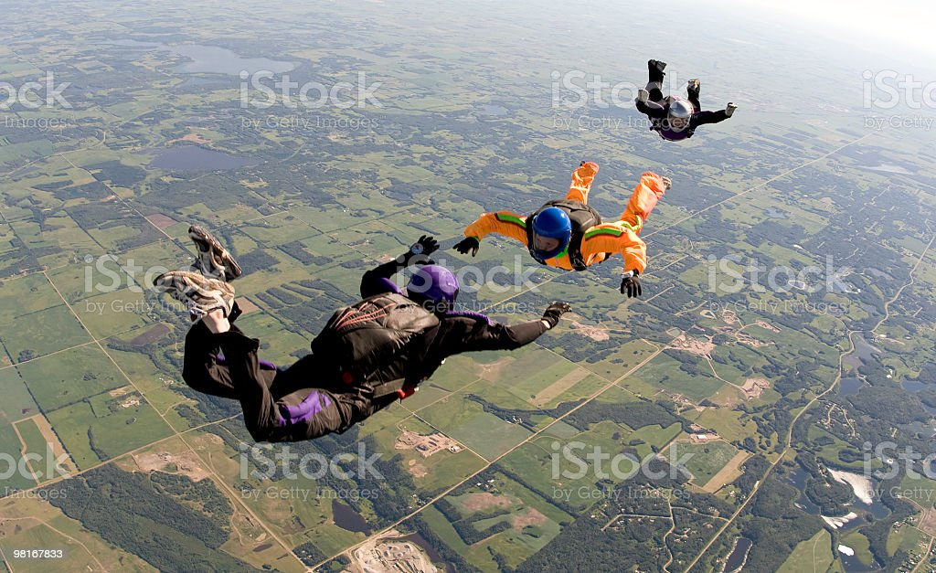 Three skydivers royalty-free stock photo