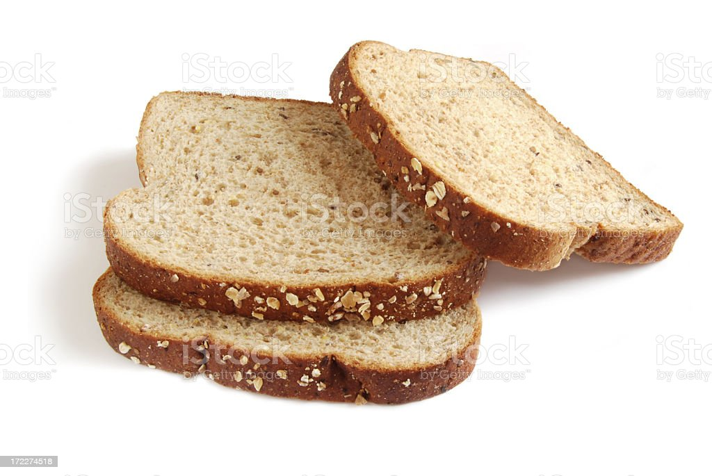 Three slices of bread stacked on top of each other royalty-free stock photo