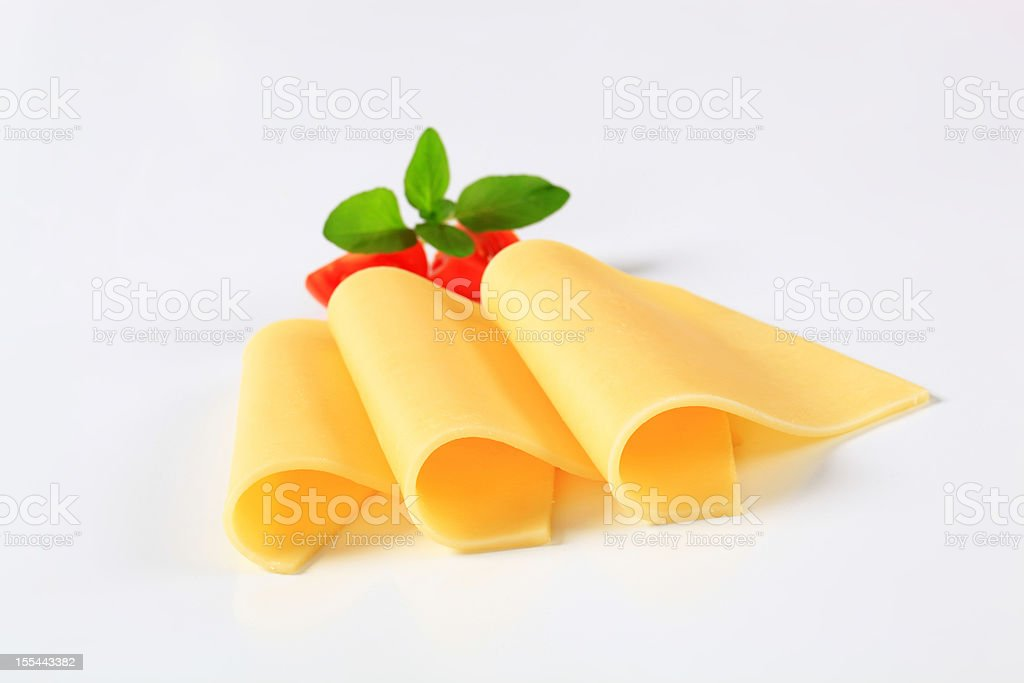 three slices of cheese stock photo