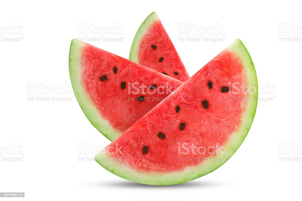 Three slices of fresh watermelon isolated on white background stock photo