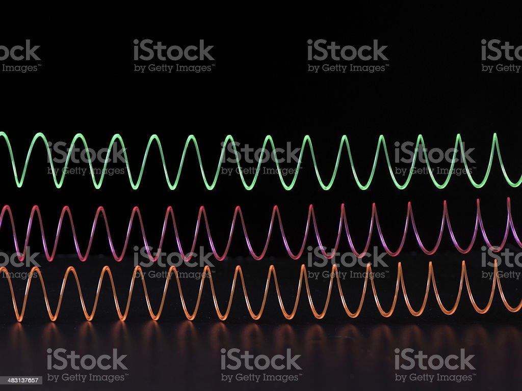 Three Slinkies stock photo