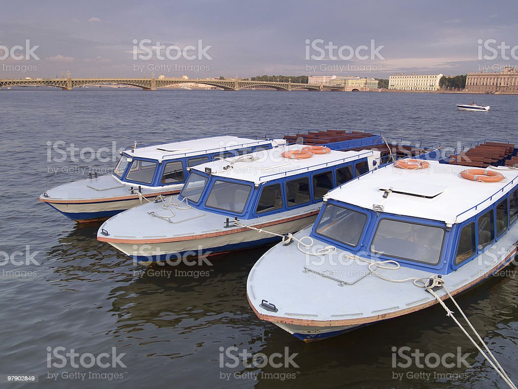 Three small boats royalty-free stock photo