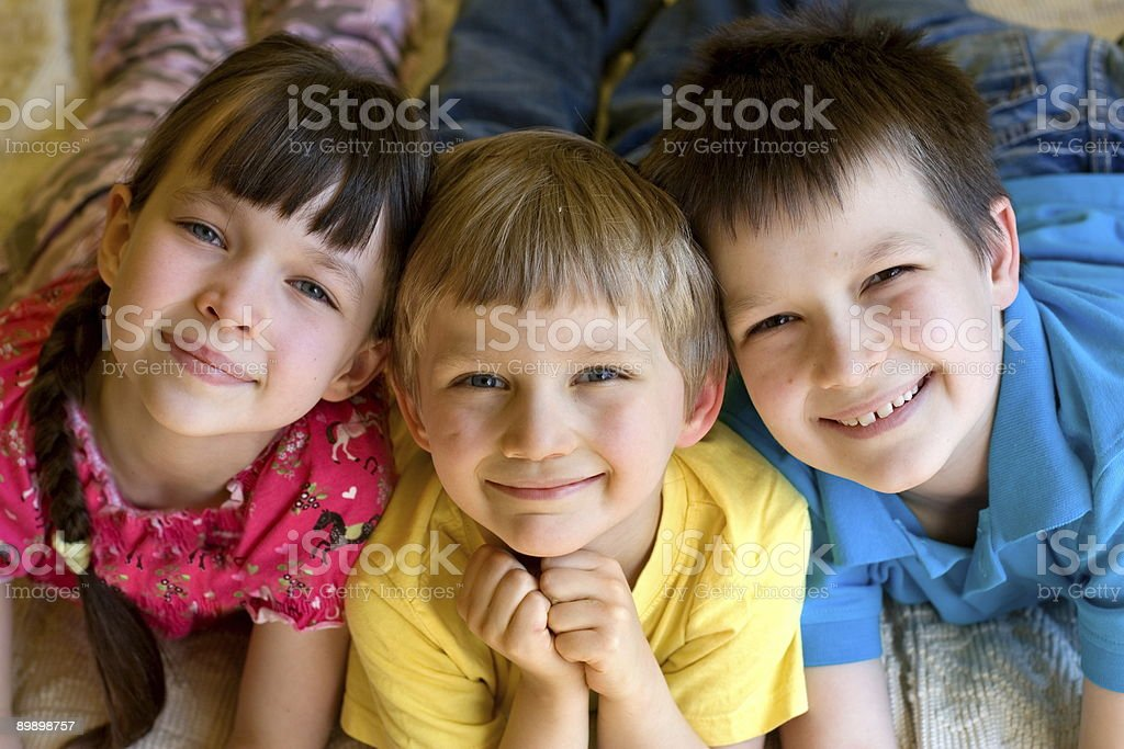 Three smiling children royalty-free stock photo