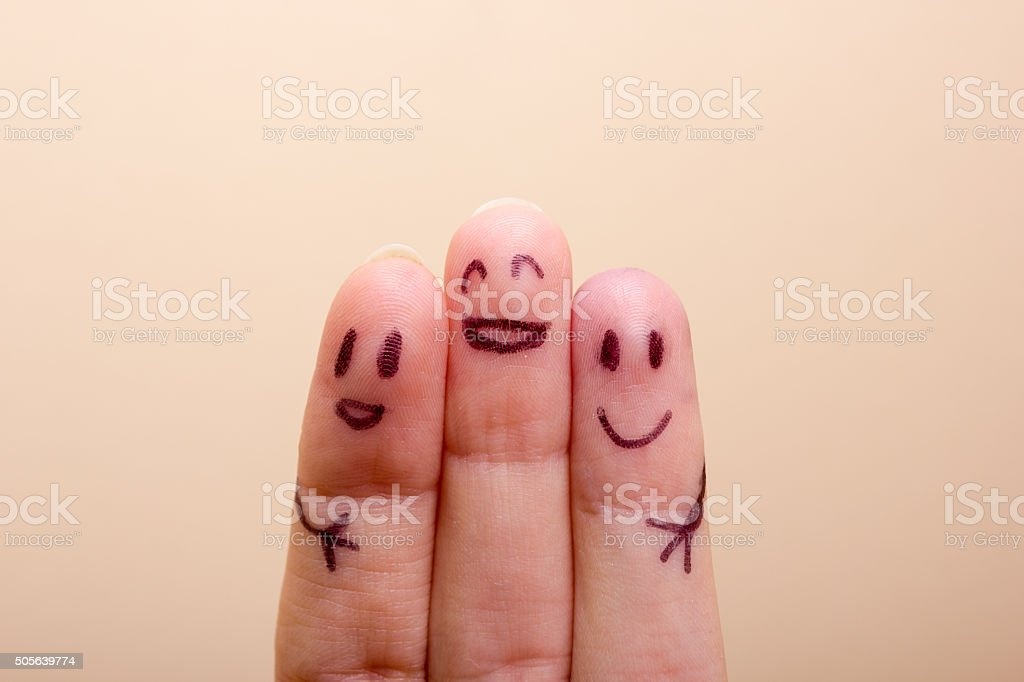 three smiling fingers that are very happy to be friends, family...