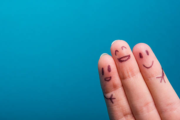 three smiling fingers that are very happy to be friends - help single word stock photos and pictures