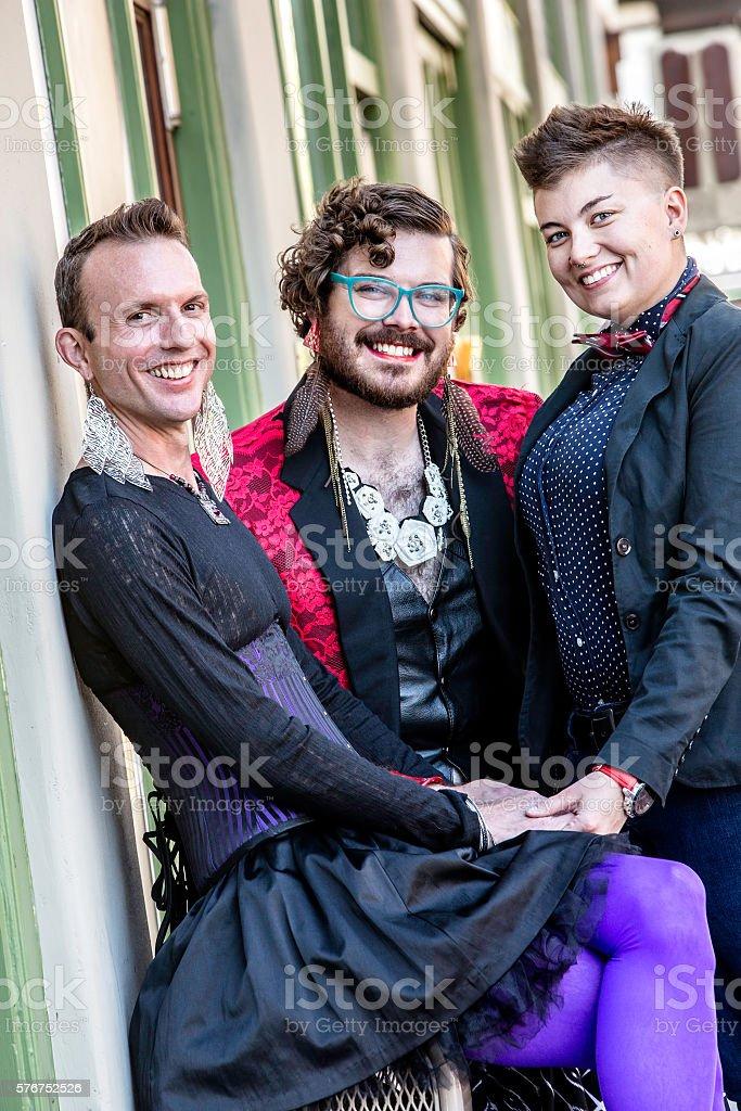 Three Smiling Gender Fluid Friends stock photo