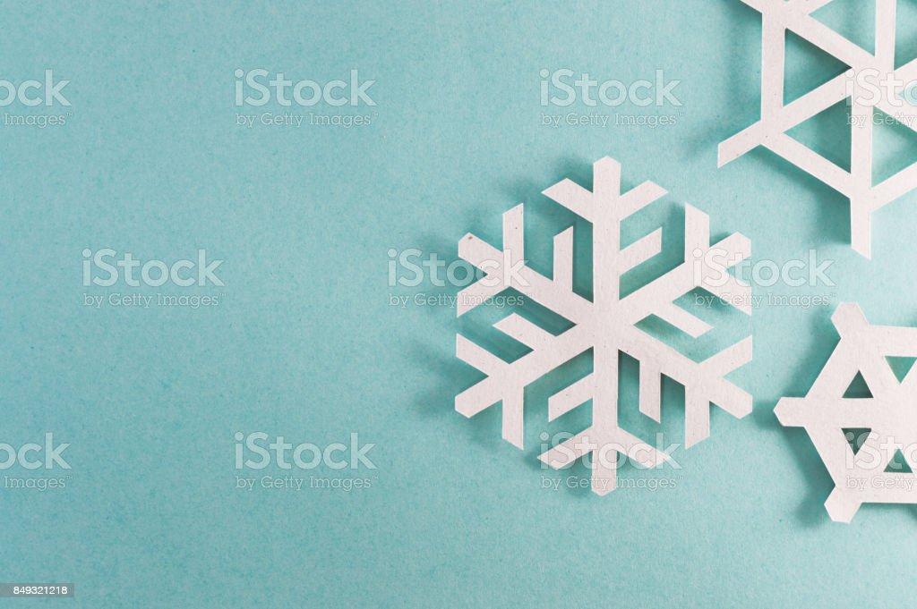 three snowflakes right side stock photo