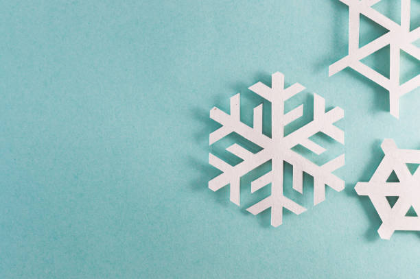 three snowflakes right side stock photo
