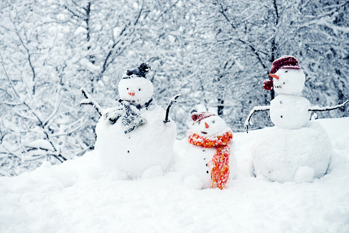 Three snowmen with trees in the background