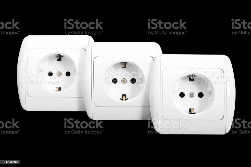 Three sockets. Isolated stock photo