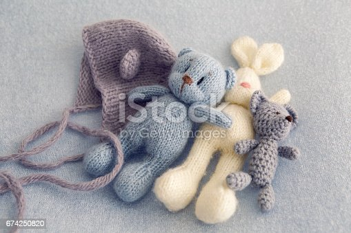 istock Three soft toy bears 674250820