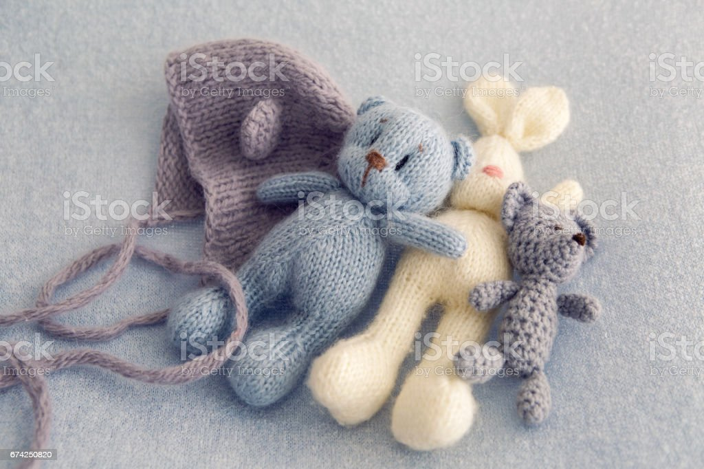 Three soft toy bears stock photo