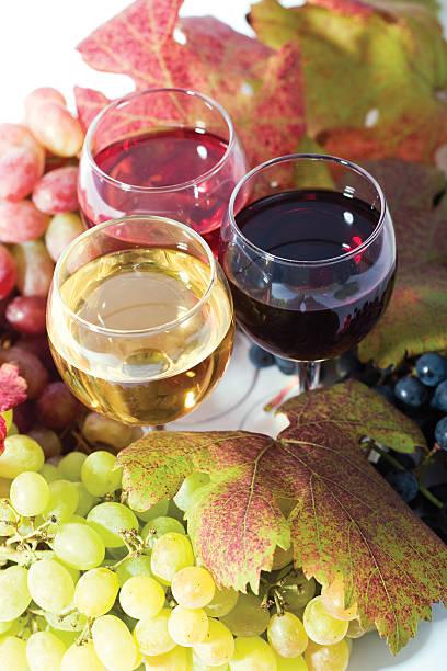 three sorts of wine stock photo