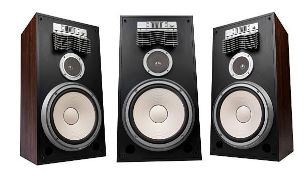 tre altoparlanti - altoparlante hardware audio foto e immagini stock