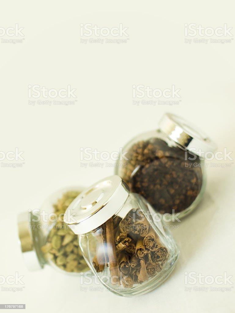 Three spice jars royalty-free stock photo