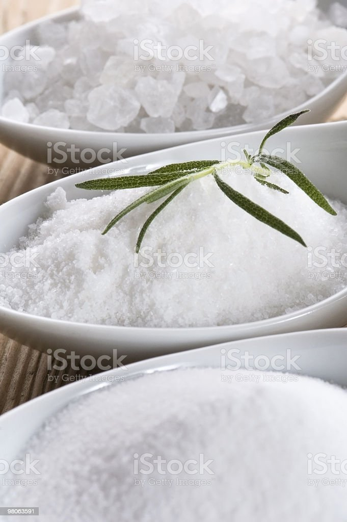 three spoons with difrent salt and rosemary royalty-free stock photo