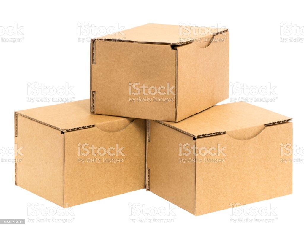 three stacked boxes stock photo