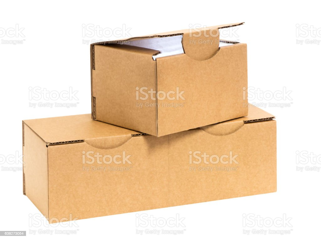 three stacked boxes with light in side stock photo