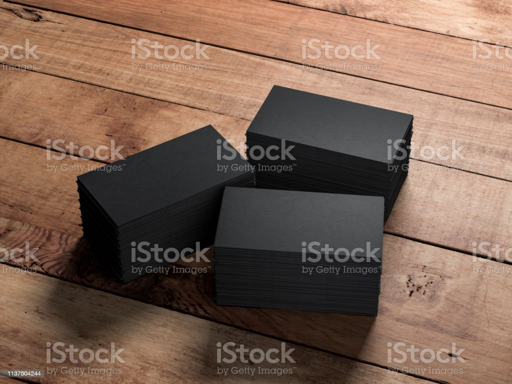 Drei Stapel Schwarzer Visitenkarten Auf Holztisch Stockfoto Und Mehr Bilder Von Bildhintergrund