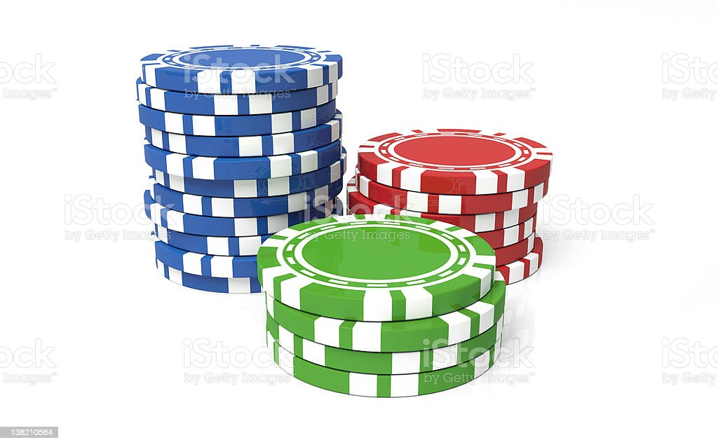 Three stacks of casino chips in blue red and green stock photo