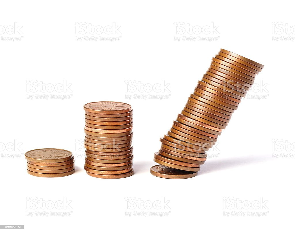 Three stacks of coins royalty-free stock photo