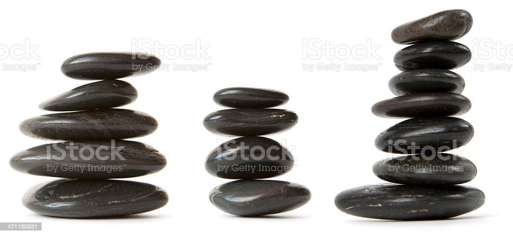 Three stacks of pebbles royalty-free stock photo