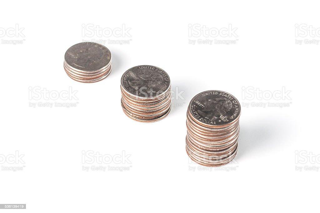 Three Stacks of Quarters stock photo