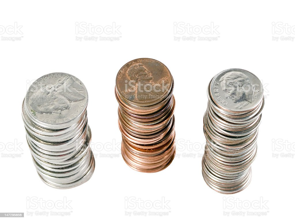 three stacks of us coins from above royalty-free stock photo