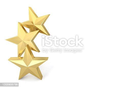 3 three stars golden gold 3D
