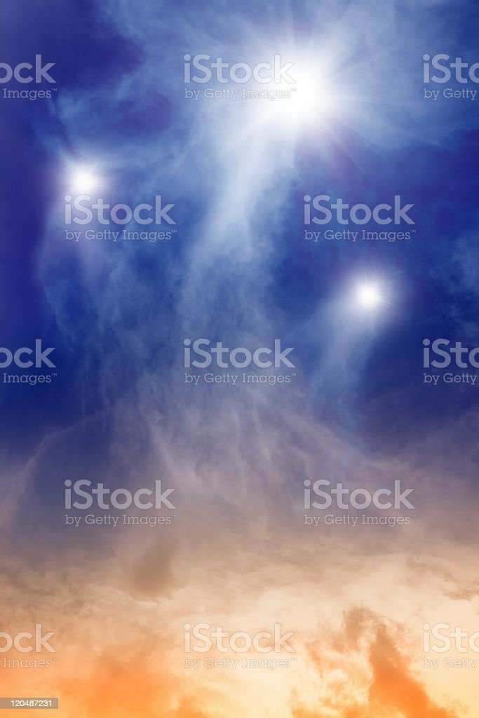 Three stars with stardust trails royalty-free stock photo
