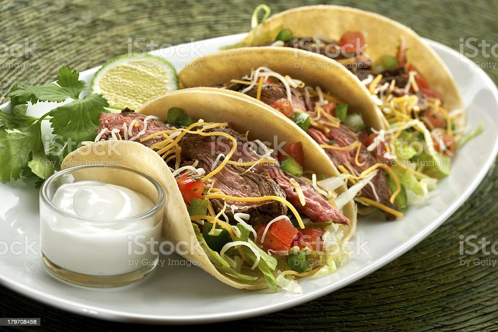 Three Steak Tacos stock photo
