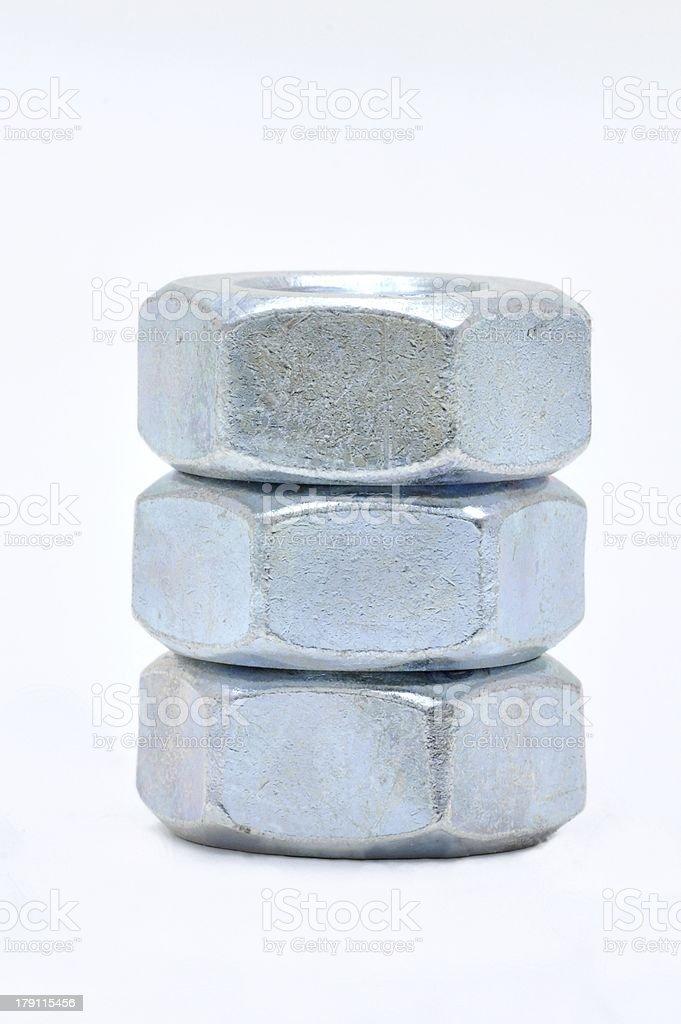 Three steel nut royalty-free stock photo