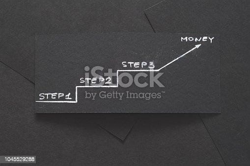 472923810 istock photo three steps earn money success plan progress black 1045529288