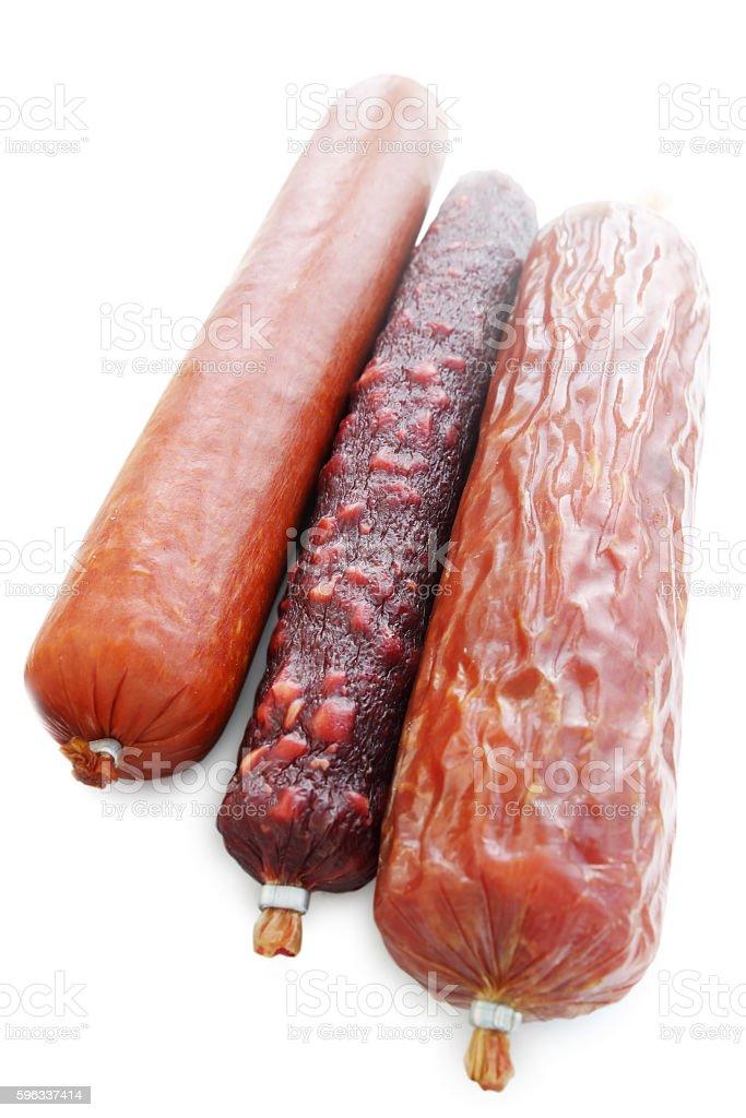 three stick smoked sausage, isolated Lizenzfreies stock-foto