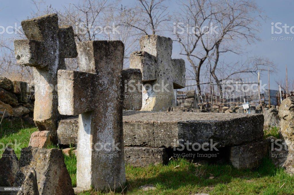 Three stone crosses on medieval ukrainian Cossack's graveyard,Odessa, Ukraine,Europe,famous landmark stock photo