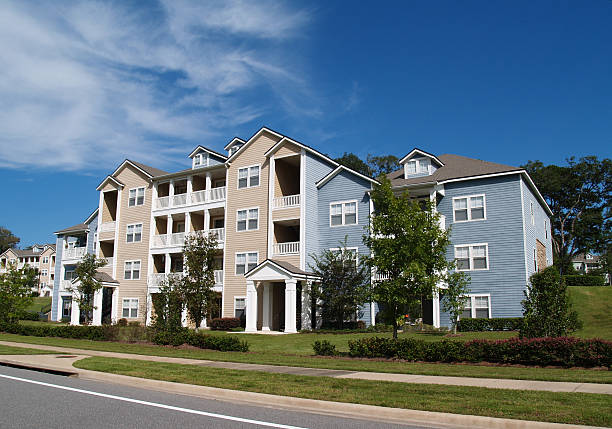 three story condos, apartments or townhomes - complexity stock photos and pictures
