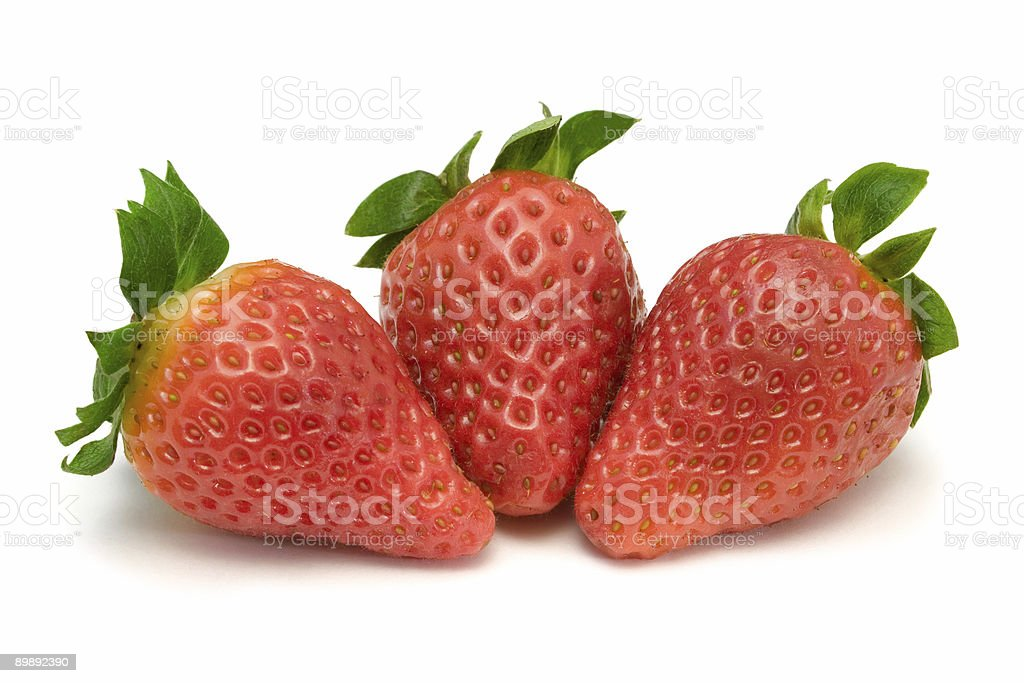 Three strawberries, close-up royalty-free stock photo